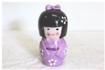 Kokeshi Doll Money Box, Violet, 17cm
